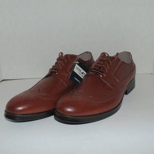 Deer Stag Brown Men Wing Tip Dress Shoes Size 9.5